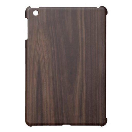 Dark Chocholate Faux Wood Pattern iPad Mini Cases