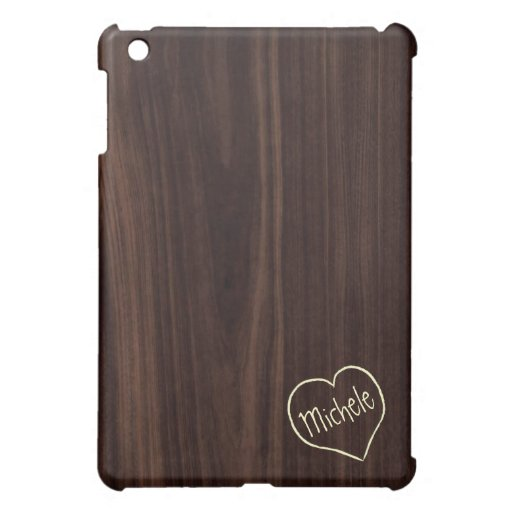 Dark Chocholate Faux Wood Pattern with engraving iPad Mini Case