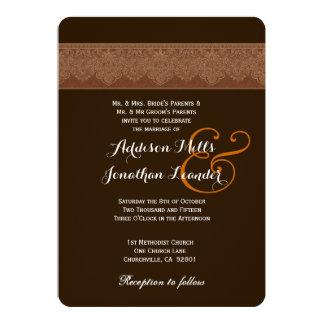 Dark Chocolate Brown Damask Wedding Template V03 Invitation