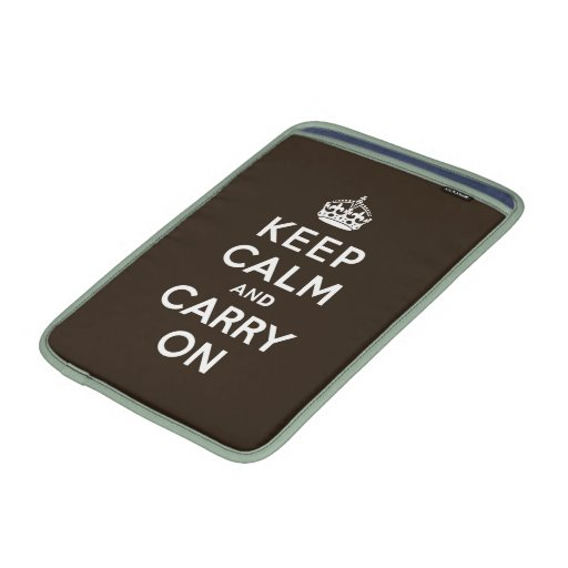 Dark Chocolate Brown Keep Calm and Carry On Sleeve For MacBook Air