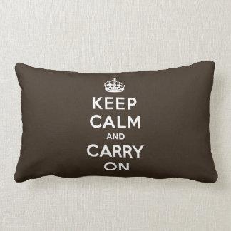 Dark Chocolate Brown Keep Calm and Carry On Lumbar Pillow