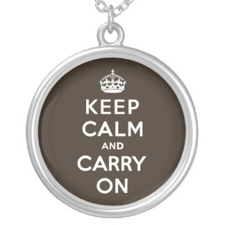Dark Chocolate Brown Keep Calm and Carry On Round Pendant Necklace