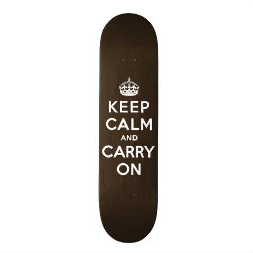 Dark Chocolate Brown Keep Calm and Carry On Skate Board Decks