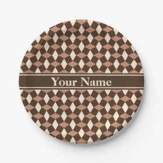 Dark Chocolate Brown Wavy Pattern Paper Plate