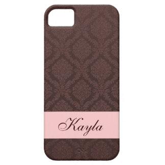 Dark Chocolate Custom Name Damask DA015 iPhone SE/5/5s Case