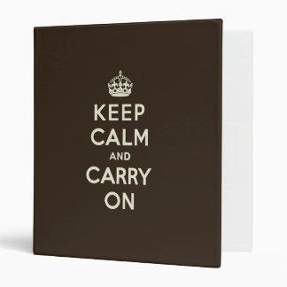 Dark Chocolate Keep Calm and Carry On 3 Ring Binder