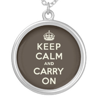 Dark Chocolate Keep Calm and Carry On Round Pendant Necklace