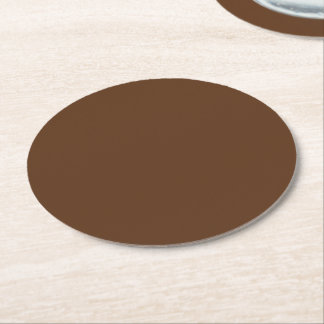 Dark Chocolate Solid Color Round Paper Coaster
