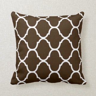 Dark Chocolate Villa Print Throw Pillow