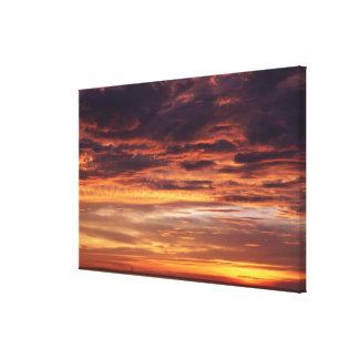 Dark clouds in orange streaked sky canvas print