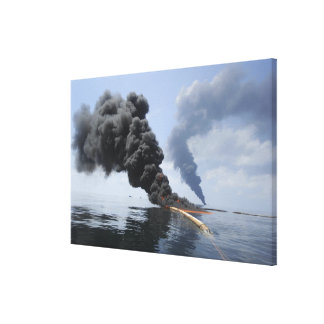 Dark clouds of smoke and fire emerge 3 canvas print