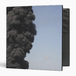 Dark clouds of smoke and fire emerge 3 ring binder
