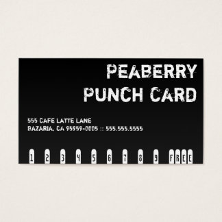 Dark Coffee Drink Punchcard Business Card