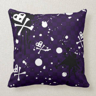 Dark Color Emo Pattern With Paint Throw Pillows
