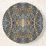 Dark color kaleidoscope lizard pattern fractal ish coaster