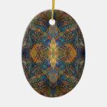 Dark color kaleidoscope lizard pattern fractal ish christmas ornaments