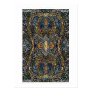 Dark color kaleidoscope lizard pattern fractal ish postcard