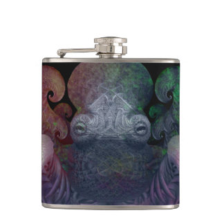 Dark Colorful Fractal Curly Octopus Composite Art Flask