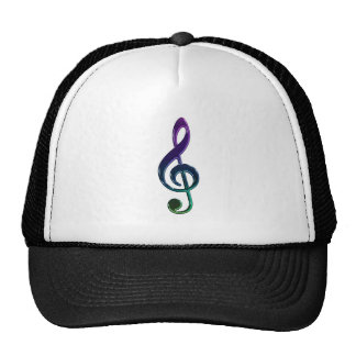 Dark Colorful Treble Clef Music Hat