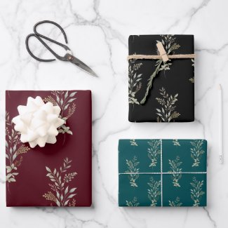 Dark Colors Seamless Leaf Design Wrapping Paper Sheets