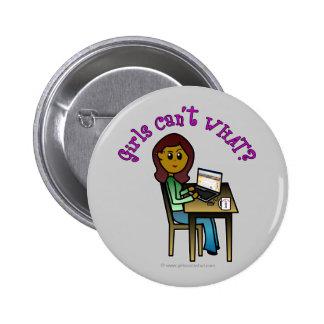 Dark Computer Girl Pinback Button