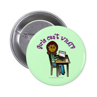 Dark Computer Girl Pinback Buttons