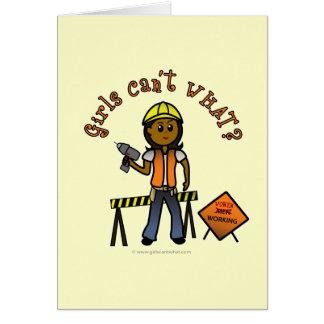 Dark Construction Girl Card