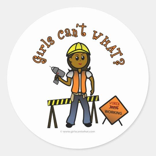 Dark Construction Girl Classic Round Sticker