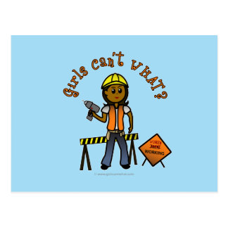 Dark Construction Girl Postcard