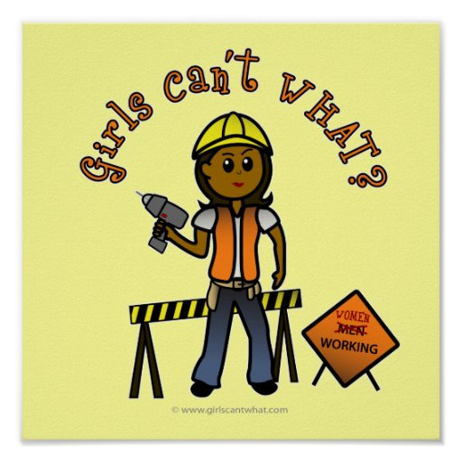 Dark Construction Girl Poster