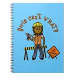 Dark Construction Girl Spiral Note Book