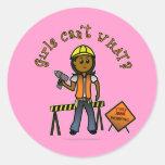 Dark Construction Girl Stickers