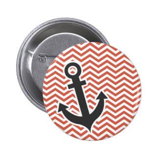 Dark Coral Chevron Anchor Pinback Buttons