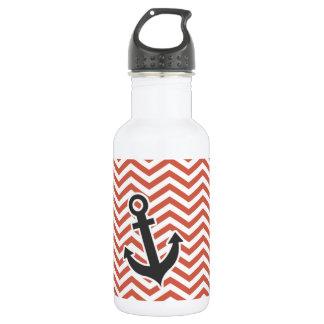 Dark Coral Chevron; Anchor Stainless Steel Water Bottle