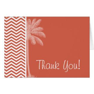 Dark Coral Chevron; Summer Palm Card
