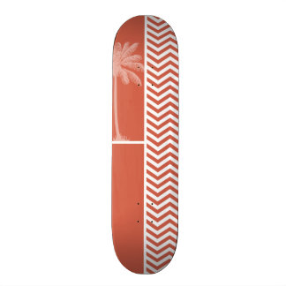 Dark Coral Chevron; Summer Palm Skate Board