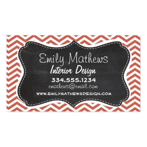 Dark Coral Chevron; Vintage Chalkboard Business Card Templates