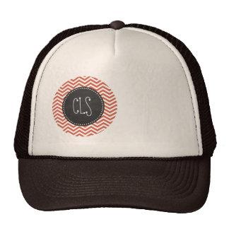 Dark Coral Chevron; Vintage Chalkboard Mesh Hat
