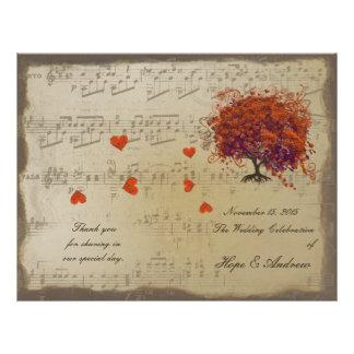 Dark Coral Heart Leaf Tree Wedding Program