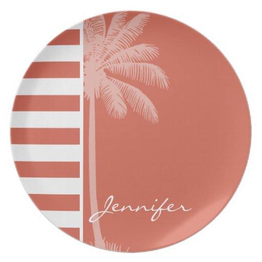 Dark Coral Horizontal Stripes; Palm Party Plate
