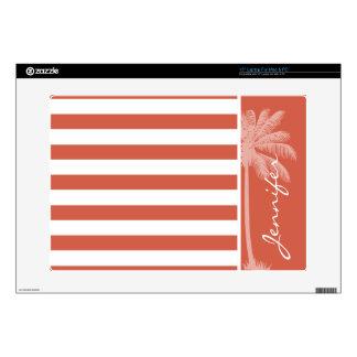 "Dark Coral Horizontal Stripes; Palm 15"" Laptop Skins"