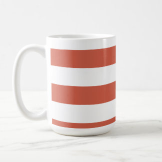 Dark Coral Horizontal Stripes; Striped Classic White Coffee Mug