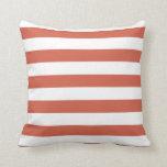 Dark Coral Horizontal Stripes; Striped Throw Pillows