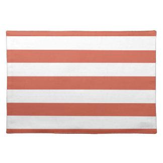 Dark Coral Horizontal Stripes Striped Place Mat