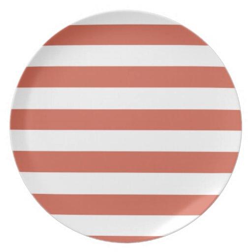 Dark Coral Horizontal Stripes; Striped Plate