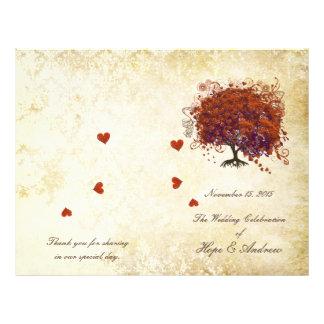 Dark Coral Plum Heart Leaf Tree Wedding Program