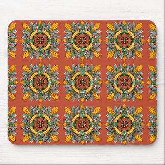 Dark Coral Victorian Tile Design Mouse Pad