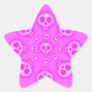 Dark Cotton Candy Pink Skull Star sticker