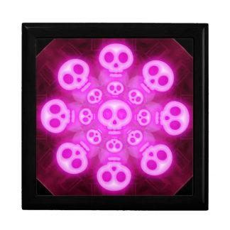 Dark Cotton Candy Pink Skulls Gift Box