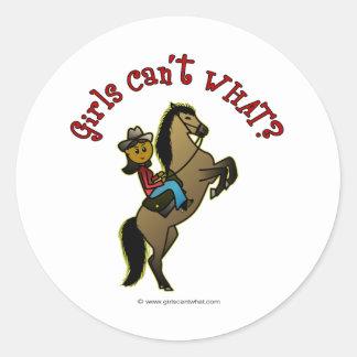 Dark Cowgirl on Horse Classic Round Sticker